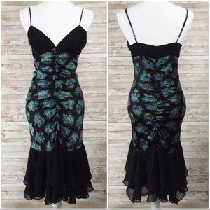 Betsey Johnson Floral Silk Mermaid Dress Size 6